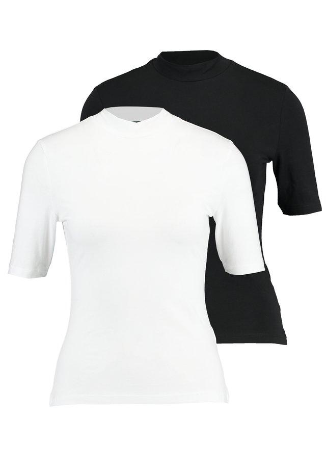 2 PACK - T-SHIRT BASIC - Basic T-shirt - white/black