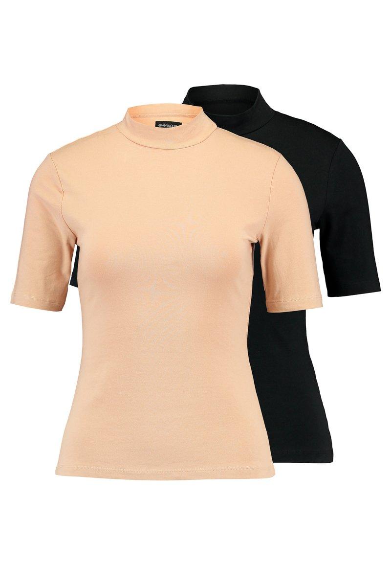 Even&Odd - 2 PACK - T-SHIRT BASIC - T-shirts - tan/black