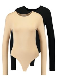 Even&Odd - 2 PACK  - Long sleeved top - tan/black - 0