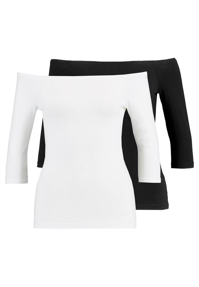 2 PACK - Long sleeved top - white/black