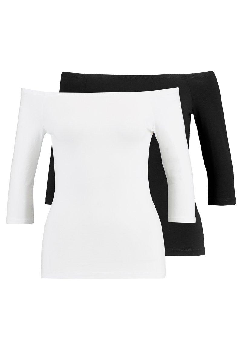 Even&Odd - 2 PACK - Camiseta de manga larga - white/black