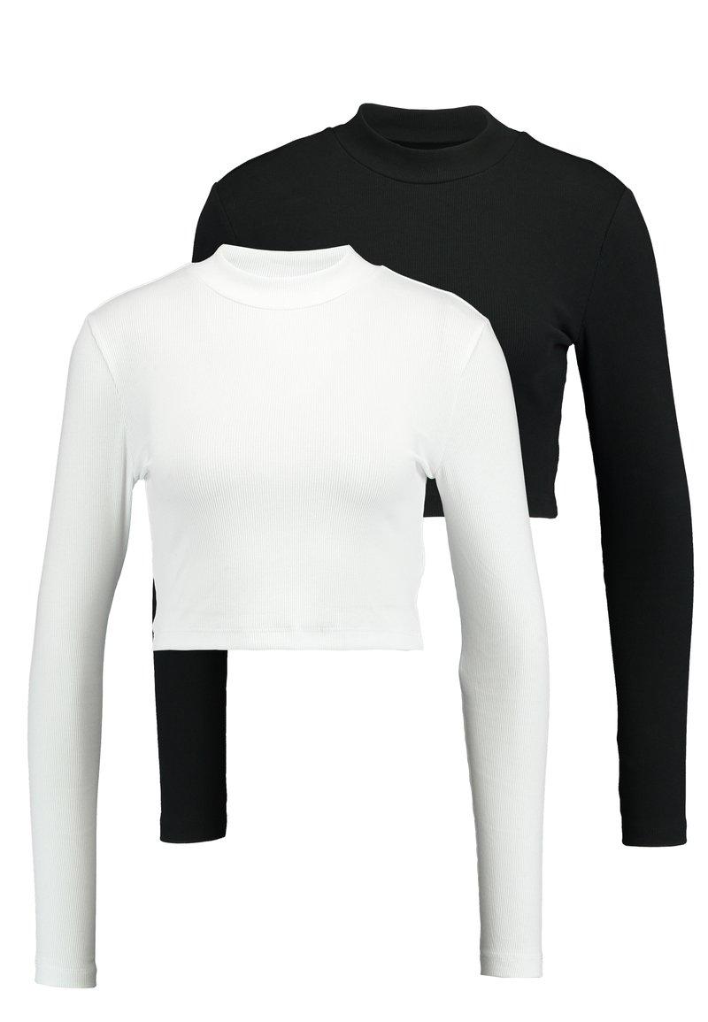 Even&Odd - 2 PACK- LANGARMSHIRT BASIC - Topper langermet -  white/black