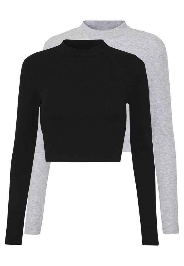 2 PACK - T-shirt à manches longues - light grey/black