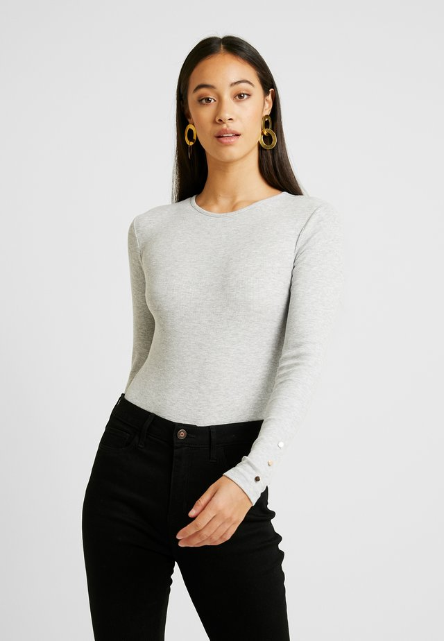 BASIC BODYSUIT - Long sleeved top - mottled light grey