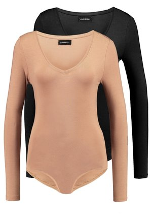 2 PACK BODYSUIT BASIC - Longsleeve - camel/black