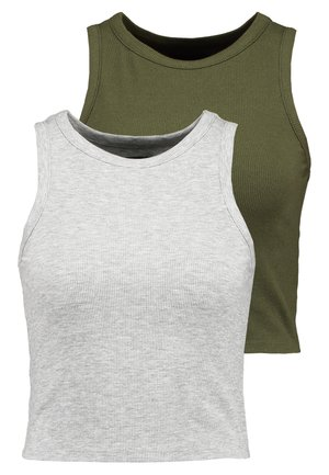 2PACK  - Top - mottled grey/khaki