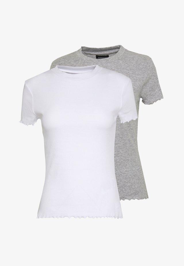 2 PACK - T-shirts basic - mottled grey/white