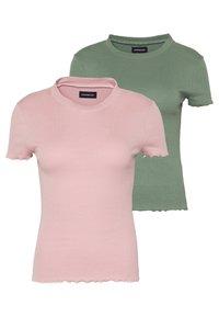 Even&Odd - 2 PACK - Basic T-shirt - khaki/rose - 0