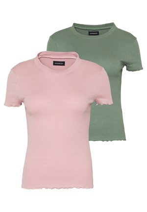 2 PACK - Basic T-shirt - khaki/rose