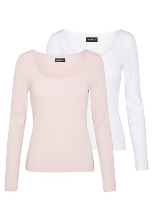 2 PACK - Long sleeved top - white/rose
