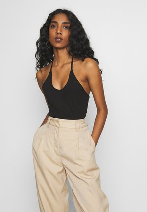 THIN ONE SHOULDER STRAP - Top - black