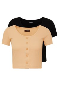 Even&Odd - BUTTON THROUGH SLIM FIT 2 PACK - T-shirt imprimé -  black/tan - 0