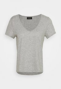 Even&Odd - 2 PACK - Basic T-shirt - black/light grey melange - 1