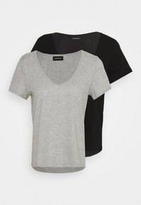Even&Odd - 2 PACK - Basic T-shirt - black/light grey melange - 0