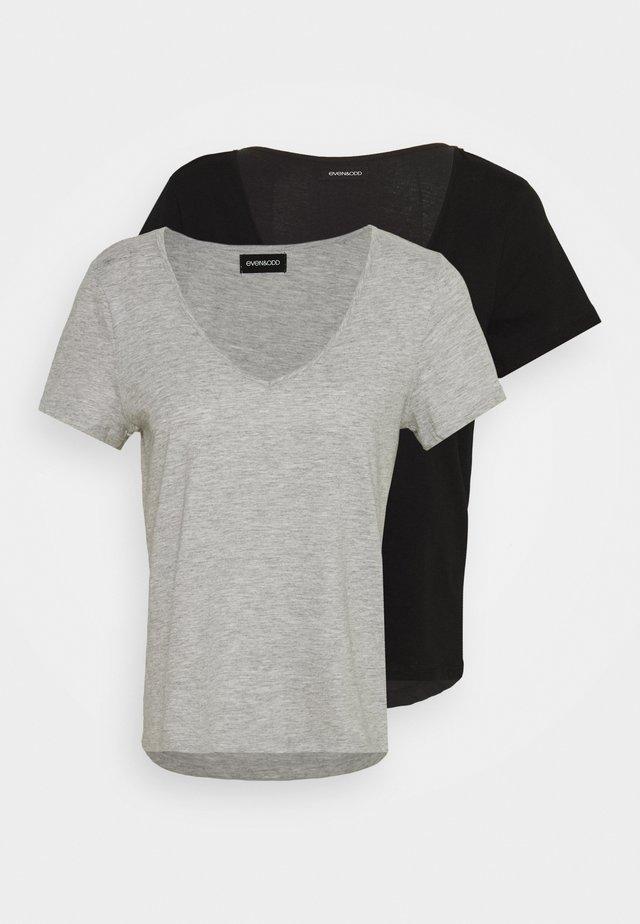 2 PACK - T-Shirt basic - black/light grey melange