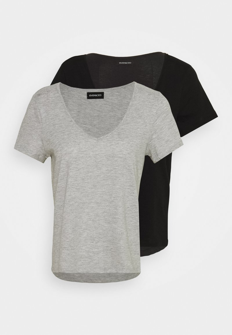 Even&Odd - 2 PACK - Basic T-shirt - black/light grey melange