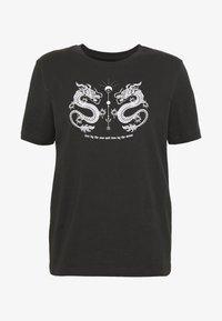 Even&Odd - HATTIE MIRRORED DRAGONS TEE - T-shirt con stampa - 801 - anthracite - 4