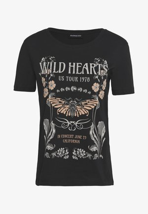 LOULOU WILD HEARTS ROCK TEE - Print T-shirt - black