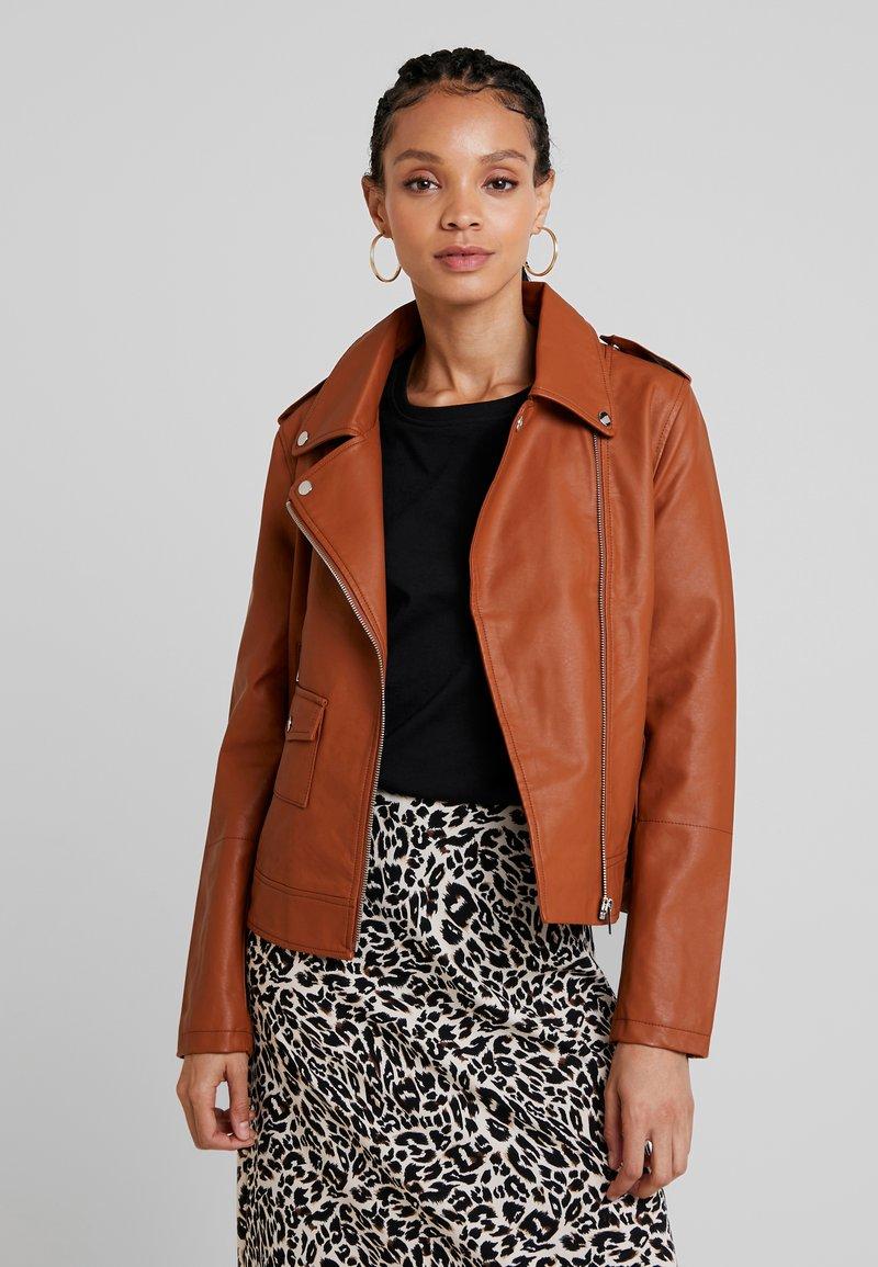 Even&Odd - Imitatieleren jas - brown