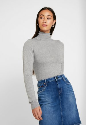 BASIC- turtle neck - Strikkegenser - mottled grey