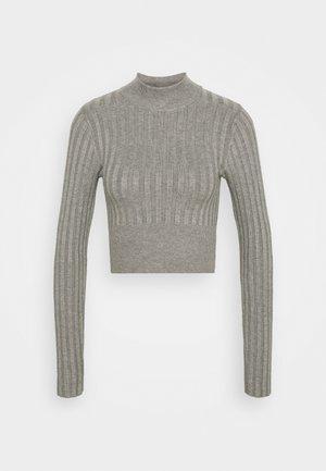 Cropped wide rib jumper - Strikkegenser - mid grey melange