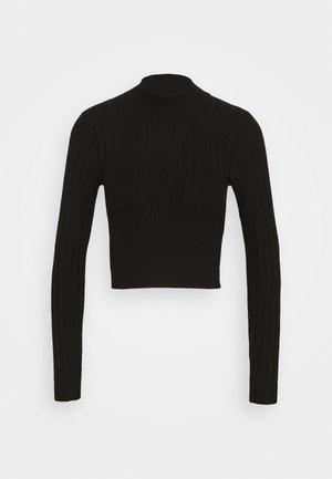 Cropped wide rib jumper - Neule - black