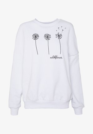 Printed Crew Neck - Sweatshirt - white