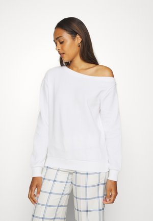 Off Shoulder Sweatshirt - Sweater - white