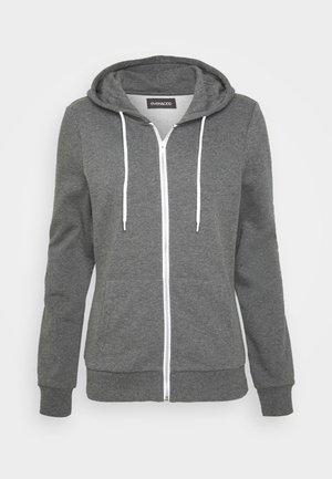 Mikina na zip - mottled dark grey