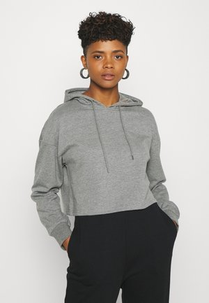 BASIC - Cropped Hoodie - Hættetrøjer - mottled grey