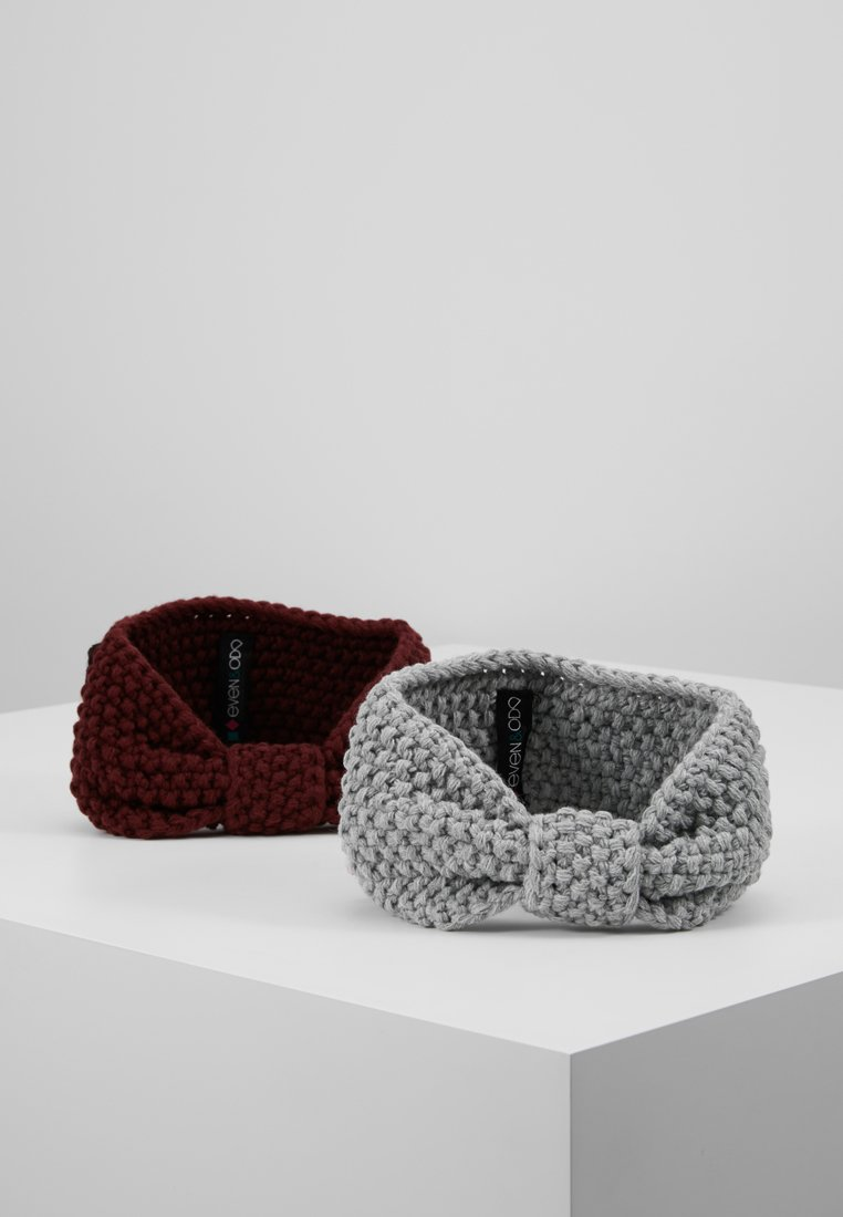 Even&Odd - 2 PACK - Ear warmers - grey/bordeaux