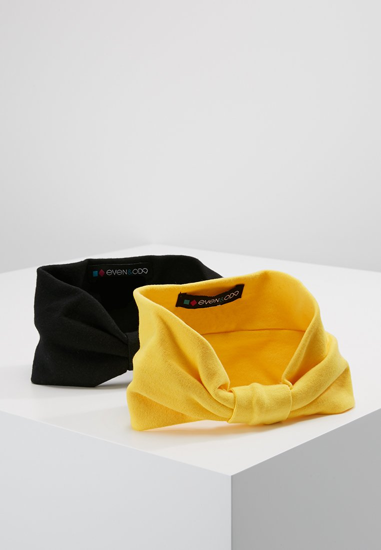 Even&Odd - 2 PACK HEADBAND - Hair styling accessory - mustard/black