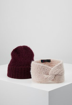SET 2 PACK - Ear warmers - bordeaux/rose