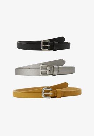 3 PACK  - Belte - black/yellow/gunmetal