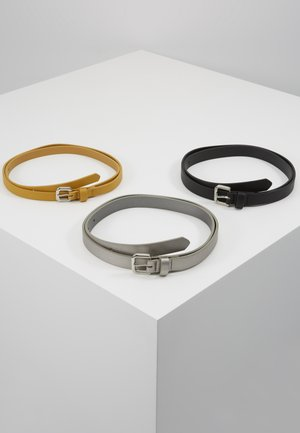 3 PACK  - Belt - black/yellow/gunmetal