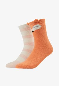 Even&Odd - 2 PACK - Socks - off-white/orange - 1