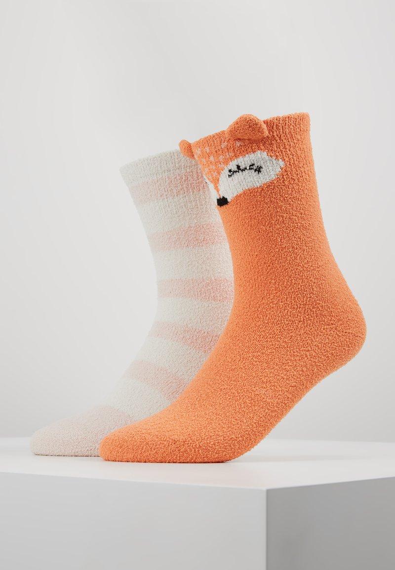 Even&Odd - 2 PACK - Socks - off-white/orange