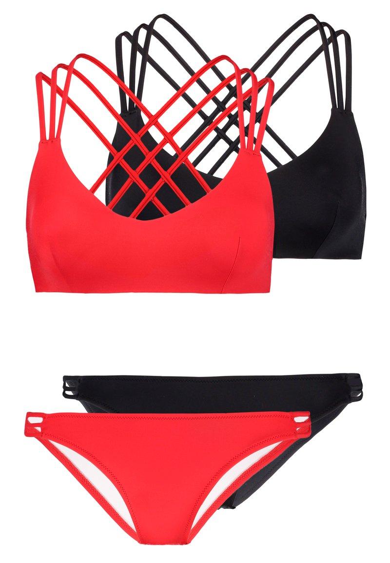 Even&Odd - 2 PACK SET - Bikini - black/red
