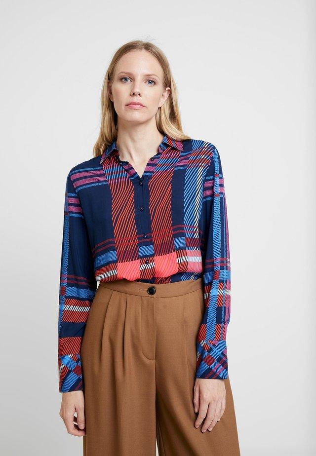 Button-down blouse - navy/pink