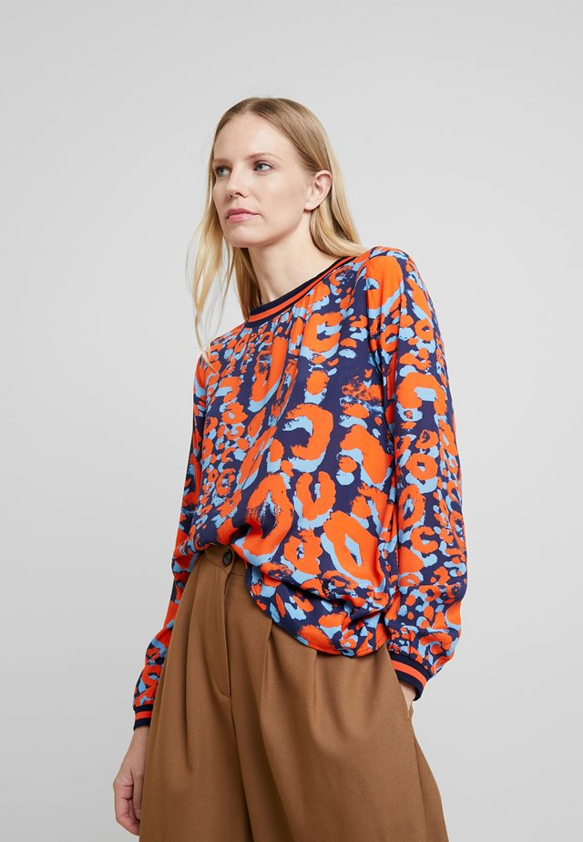 Blouse - navy/orange