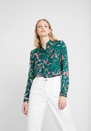 Button-down blouse - dark green/pink
