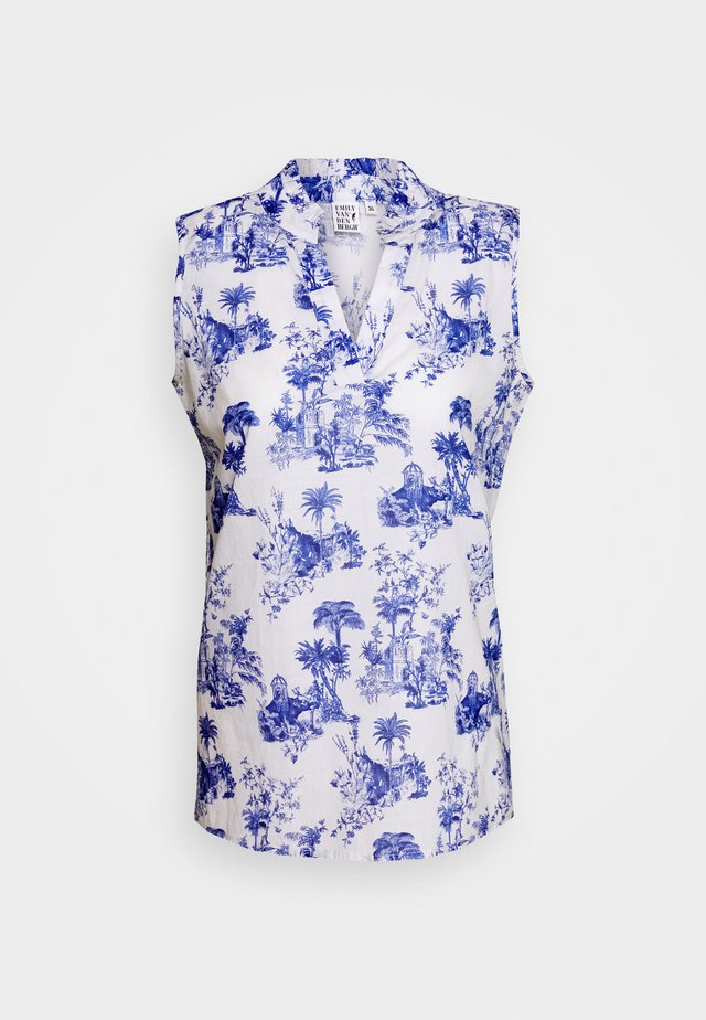BLOUSE - Blouse - white/blue