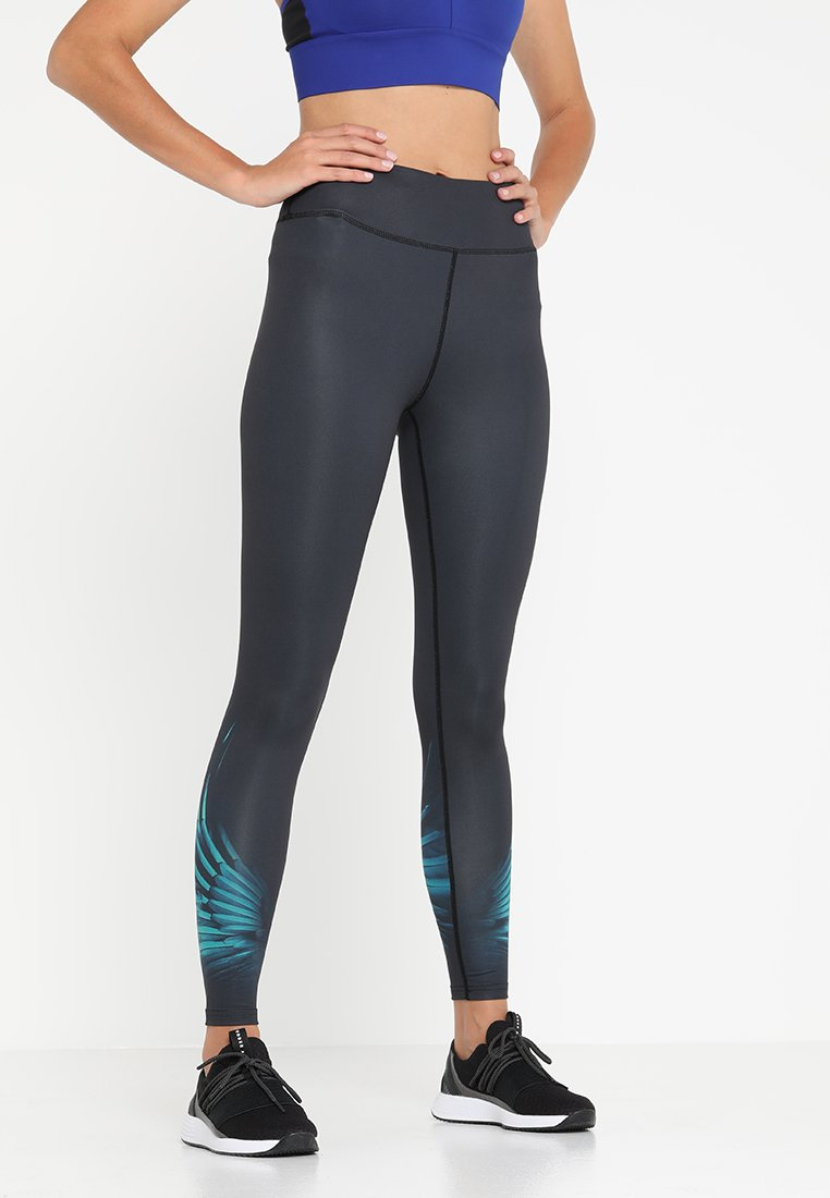 Even&Odd active - Collants - black/turquoise