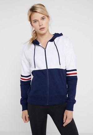 Zip-up hoodie - white/dark blue