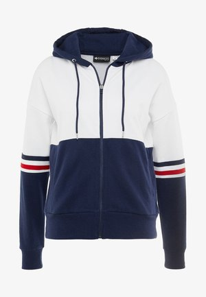 Zip-up hoodie - white/dark blue