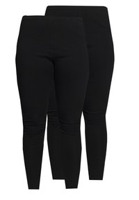Even&Odd Curvy - 2 PACK - Leggings - Trousers - black - 0