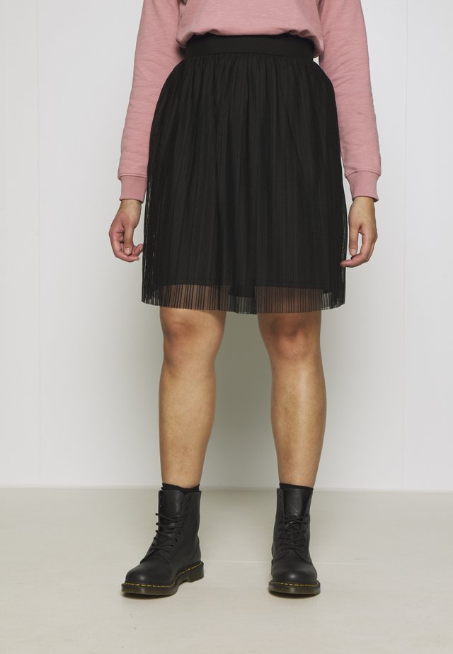 PLISSEE SKIRT - A-Linien-Rock - black