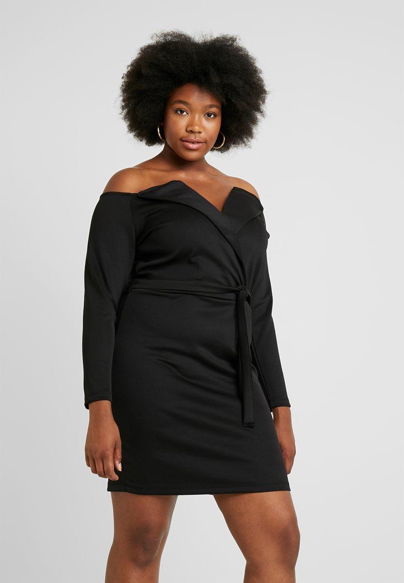 Even&Odd Curvy - Pouzdrové šaty - black