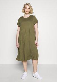 Even&Odd Curvy - BASIC JERSEY DRESS - Jersey dress - burnt olive - 0