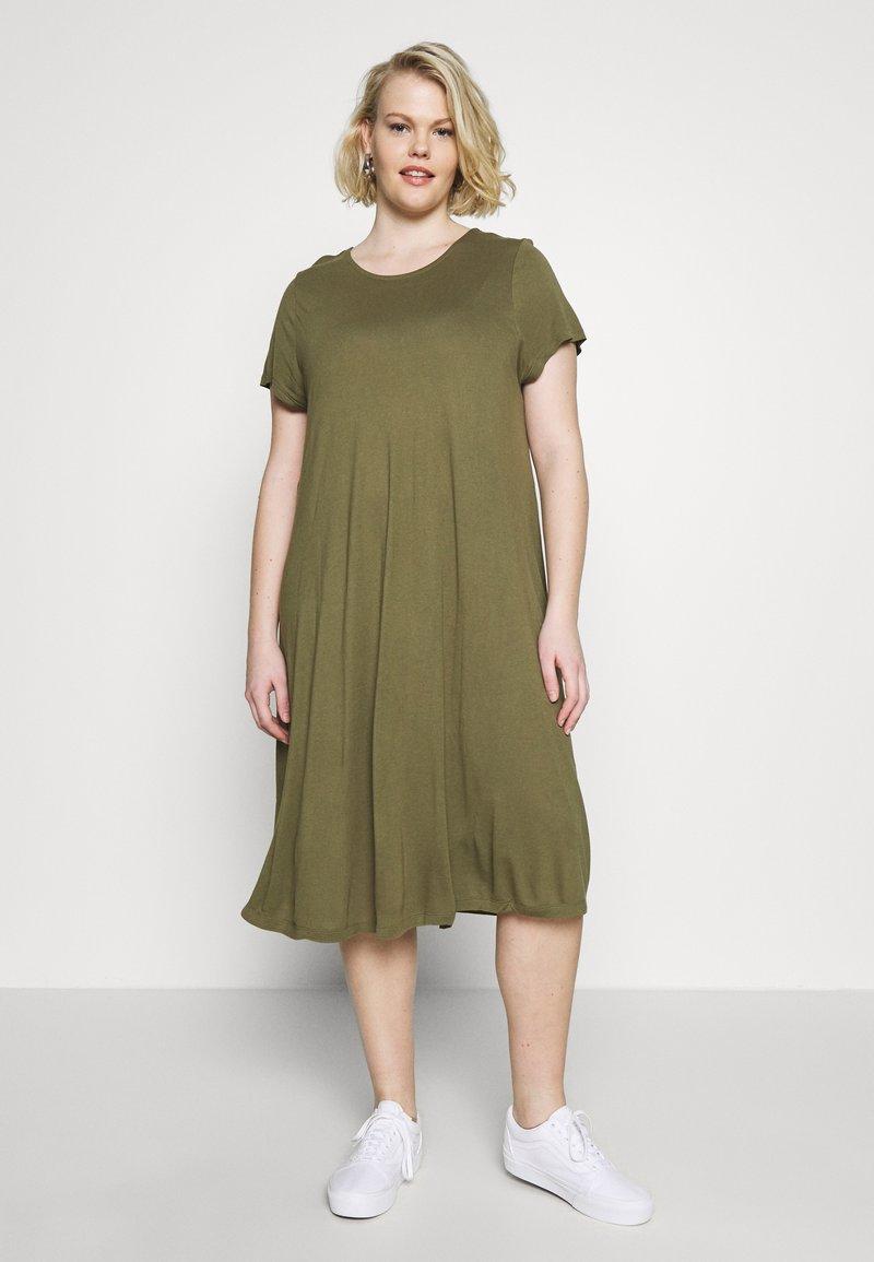 Even&Odd Curvy - BASIC JERSEY DRESS - Jersey dress - burnt olive